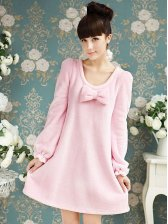 Vogued Lady Puff Sleeve Dress&Long Pants Pajamas Sets