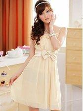Charming Lady Bowknot Chiffon Straps Mini Dress