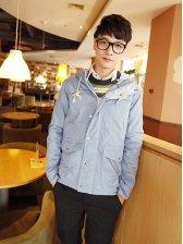 New Winter Long Sleeve Zipper Hooded Blue Short Coat
