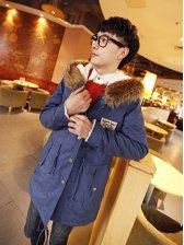 British Winter Zipper Fur Hooded Azure Long Coat