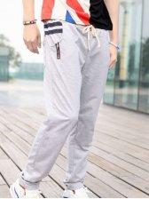 Fashion Man Pockets Drawstring Tie Casual Pants