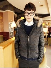 Winter Fashion PU And Denim Patched Fur Hooded Short Coat