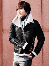 Modern Style Zipper PU Black Jacket With Pockets