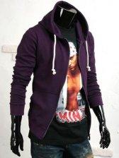 Men Stylish Warm Zipper Hooded Cotton Hoodie