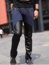 Fashion Man Zipper Pockets Drawstring Tie Casual Pants