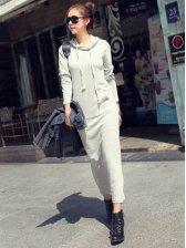 Hot Fashion Lady Side Pocket Hooded Maxi Dress