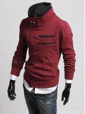 Stylish Man Inclined Zipper Stand Collar Slim Hoodie