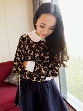 Cute Girls Doll Collar Leopard Print Long Sleeve Blouse