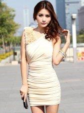 Hot Sale Pure Color V-neck Stereo Flower Sleeveless Dress