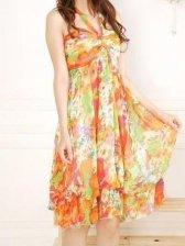 Summer Hot Sale Deep V-neck Floral Halter Dress