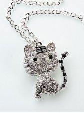 Cute Fashion Tiger Shape Rhinestone Decoration Sweater Necklace