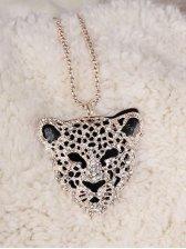 Wild Fashion Leopard Rhinestone-studded Sweater Necklace