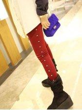 New Arrival Rivets Decoration Red Pants Leggings