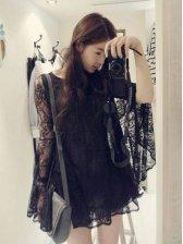 Vogue Women Pure Color Big Flare Sleeve Lace Dress