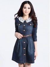Retro Style Detachable Lace Collar Single Breasted Denim Dress