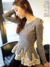 Elegant Women Lace Pleated Hem Puff Sleeve Woolen Blouse