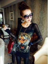 Brand New Fashion Tiger Pattern Gauze Splice Causal T-shirt