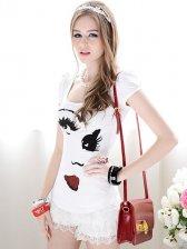 Korean Style Big Eyes Pattern Sequin Round Collar T-shirt