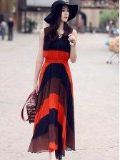 Modern Trendy Color Block Round Neck Maxi Dress