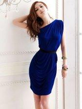 Hot Sale Pure Color Pleated Slim One Shoulder Dress