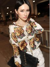 New Arrival Tiger Printing Round Neck Casual Blouse