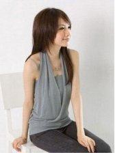 Vogued Women Cotton Solid Color Slim Tank