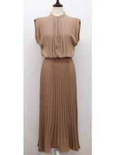 Summer Fashion Stand Collar Chiffon Black Pleated Maxi Dress