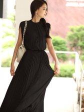 New Summer  Stand Collar Chiffon Pleated Maxi Dress
