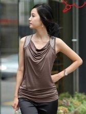 Korean Fashion Rivets Studded Sleeveless V Neck T-shirt Tank