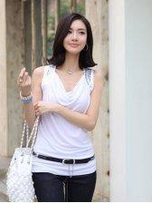 Brand New Korean Rivets Studded Sleeveless V Neck White T-shirt