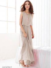 Summer Hot Sale Ruffles Pure Color Sleeveless Maxi Dress