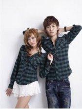 Spring Fashion Plaid Hooded Long Sleeve Green Couple Shirts
