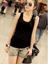 Summer Fashion Round Neck Black Camisole