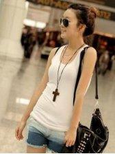 Hot Sale Korean Summer Round Neck White Camisole