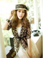 Stylish New PU Patched Leopard Pattern Chiffon Short Coat