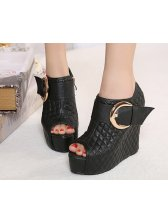 Modern Spring Pure Color Peep Toe Wedge Black Short Boots