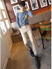 New UK Style Men Polka Dots Casual Long Pants