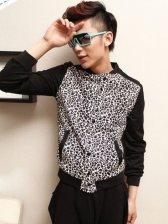 Fashion Men Leopard Color Block Long Sleeve Coat