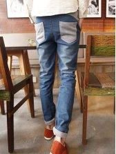 Spring Modern Color Block Pockets Drawstring Denim Jeans