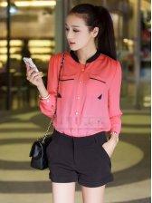 Korean Style Double Pockets Long Sleeve Blouse