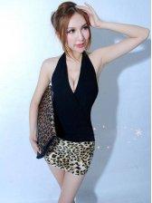 Sexy Deep V Leopard Pattern Halter Mini Dress