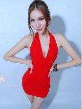 Sexy Deep V Solid Color Backless Halter Mini Dress