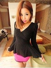 Korean Style Pure Color V-neck Long Sleeve Blouse