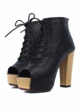 Lady Fashion Peep Toe Chunky Heel Ankle Boots