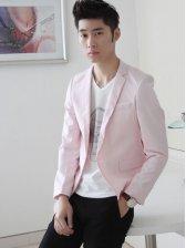 Korean Fashion One Button Turn Collar Suit In Pink