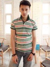 New Fashion Stripes Turn Collar Short Sleeve Slim Tee