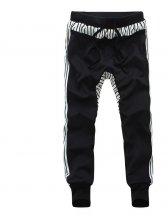 Spring Fashion Stripes Color Matching Black Long Pants
