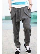 Brand New Men Cotton Zipper Harem Dark Gray Long Pants