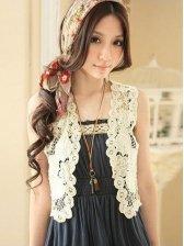 Romantic Fashion Lace Crochet Front Open Vest Coat