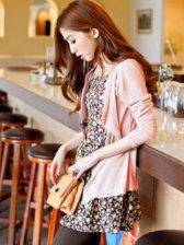 Lady Fashion Long Sleeve Coat And Pink Tank Dress